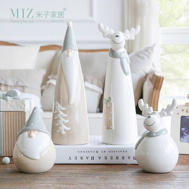 Miz 1 Piece Christmas Decoration Ceramic Doll Christmas Gift for Children Santa Claus Reindeer Figure 2 Sizes