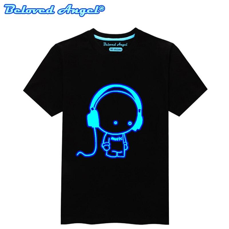 100% Cotton Children Summer Fluorescent T Shirt Boys Girls Anime 3D Pattern Luminous In Night Kids Short Sleeve T-shirt Hip Hop