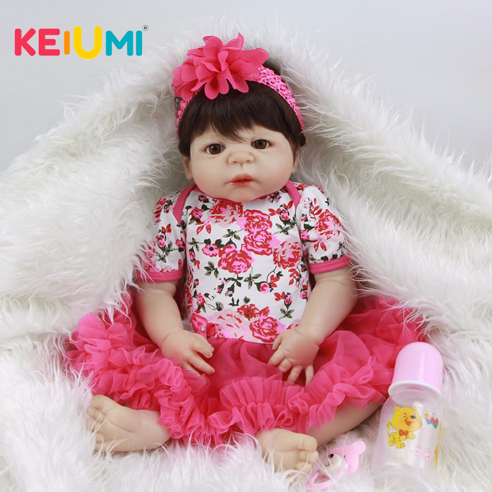 Realistic 23'' Full Silicone Newborn Reborn Baby Dolls For Kids DIY Toys Fashion 57 cm Reborn Baby Girl 2018 Birthday XMAS Gifts so real princess newborn dolls 23 reborn baby full silicone vinyl baby dolls 57 cm lifelike baby girl fashion kids gifts toys