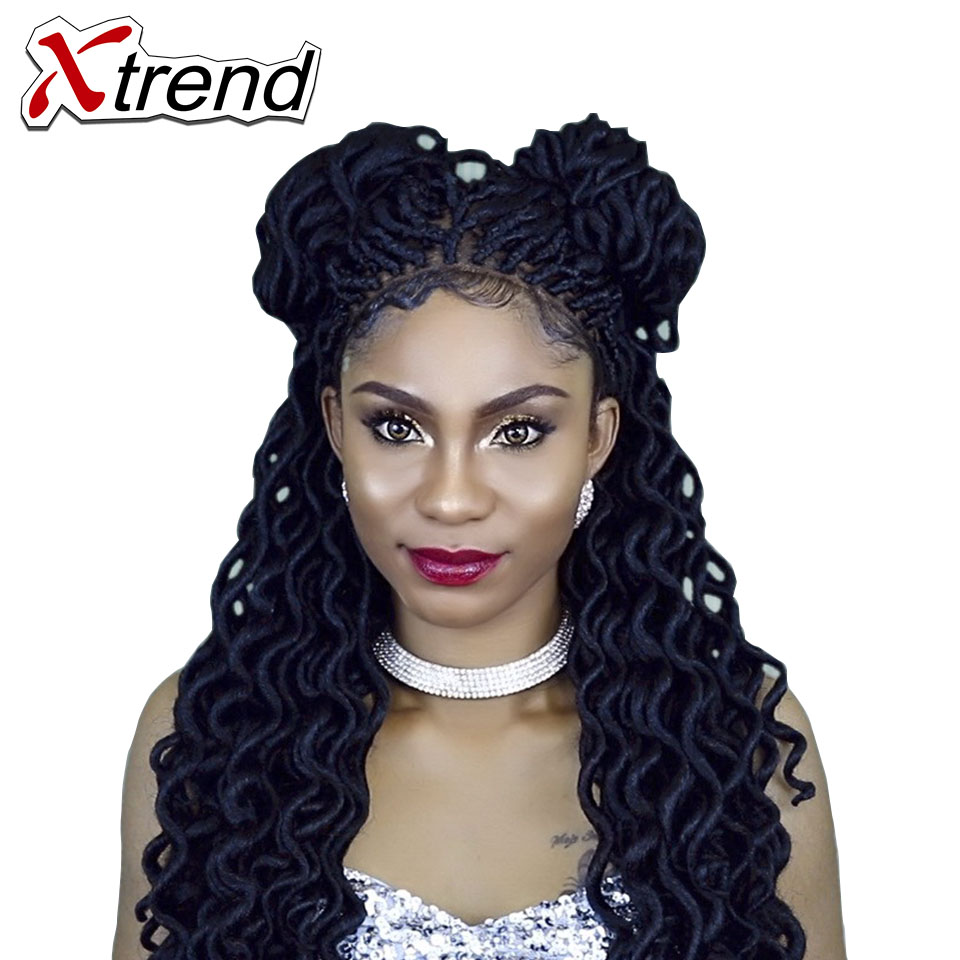 Xtrend Goddess Faux Locs curly Braid Hair Synthetic Braiding Hair 24Strands/pack Crochet Braids Hair Extensions Black Burgundy