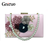 Fashion Colorful Flowers Party Ladies Evening Clutch Bags Appliques Chain Women Shoulder Crossbody Bags With Luxury