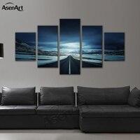5 Panel Art Muur Foto Sneeuw Bergweg om Licht van God Gedrukt Schilderen voor de Slaapkamer Decoratie met Frame