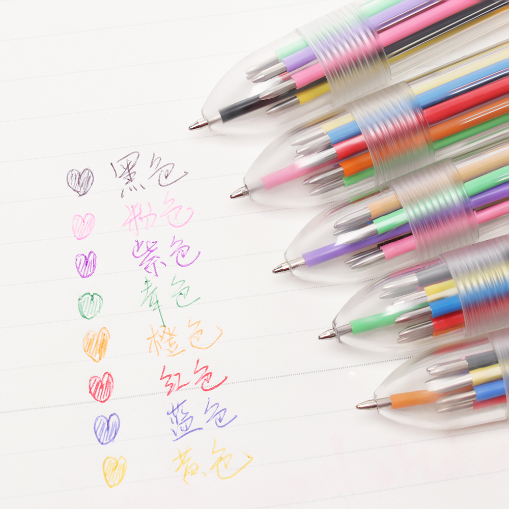 1pc Multicolor Ballpoint Pen transparent 6 colors pen for school office `