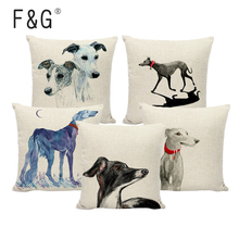 цены Lovely Greyhound Pattern Linen Cushion Cover Living Room Decorative Pillow Cover Home Sofa Decoration Pillow Case