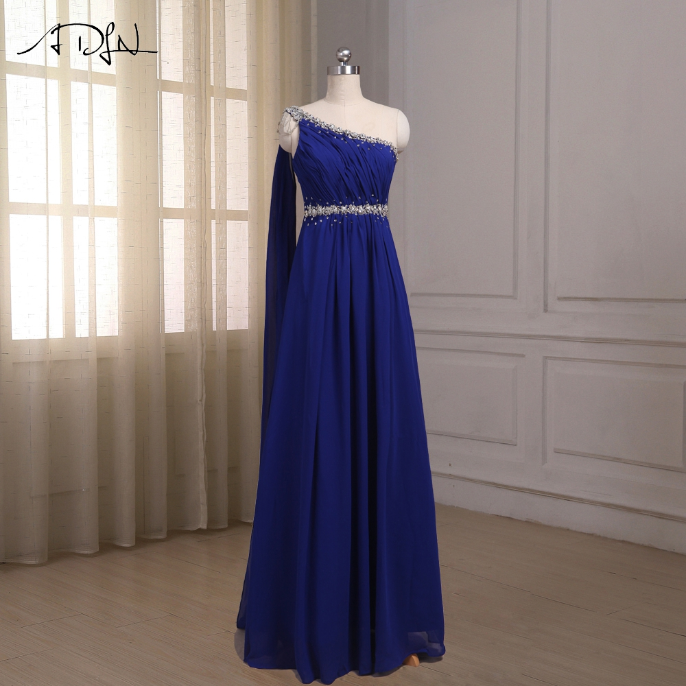 ADLN Royal Blue   Evening     Dresses   Chiffon One-shoulder Sleeveless Beaded Crystals Sheath Floor Length Party Prom Gowns