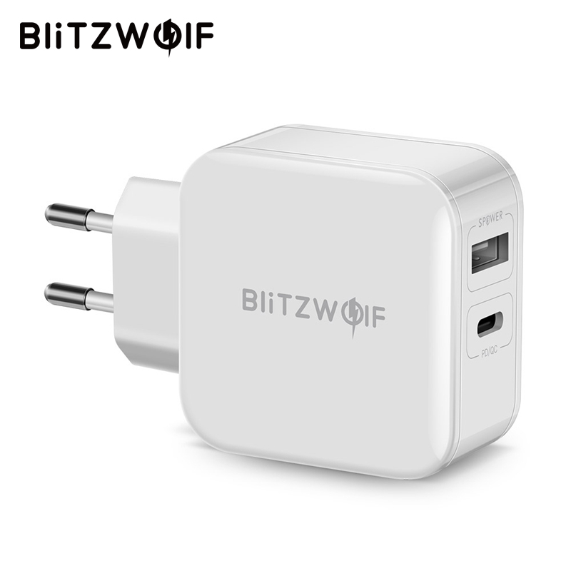 BlitzWolf 30W Type-C Mobile Phone Charger PD/QC3.0+2.4A Dual USB Fast Charger EU/AU Adapter For iPhone X 8 Plus For iPad White