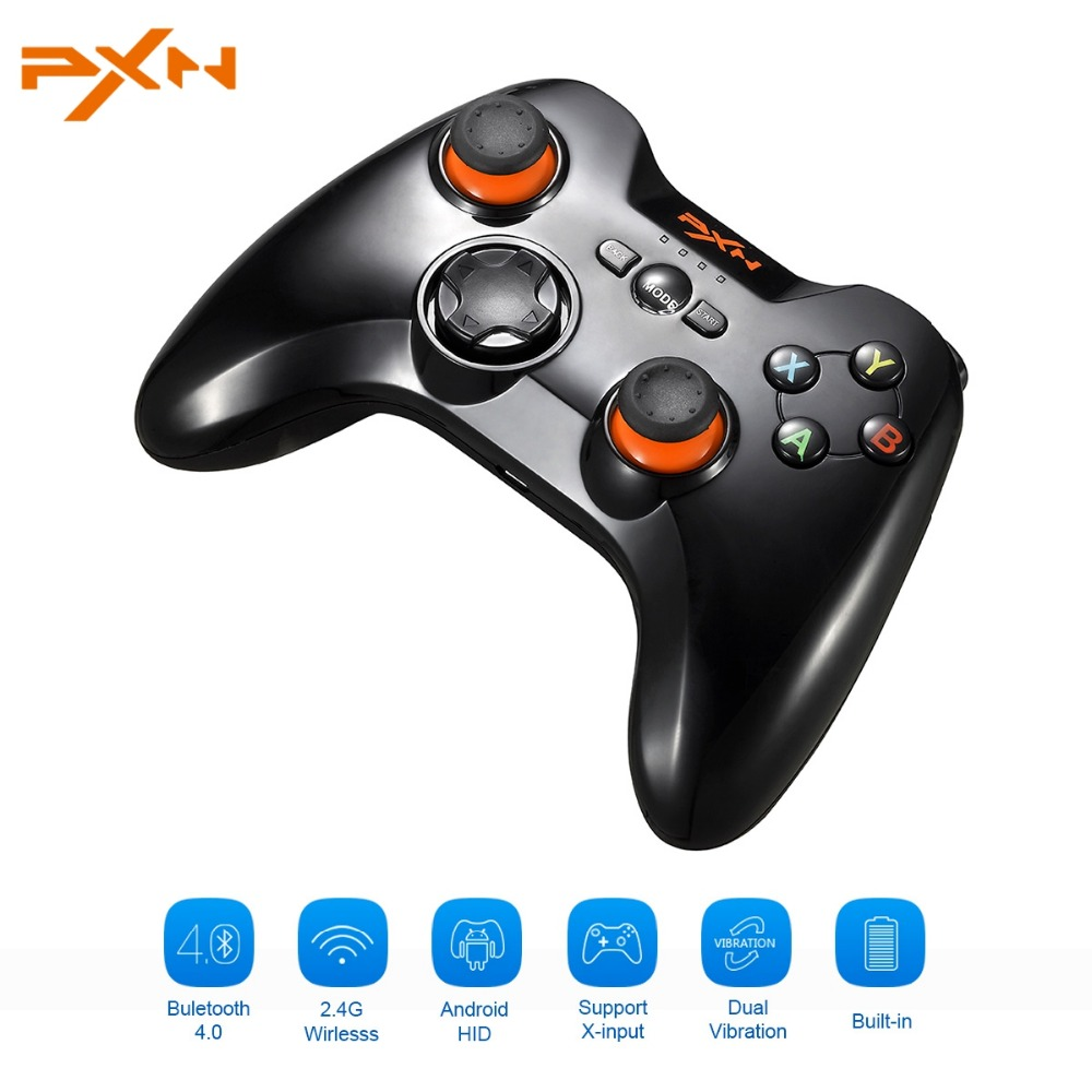 PXN 9613 Dual Mode Wireless Gamepad Bluetooth 4.0+2.4G Game Controller Vibration Joystick Support Xin/Dinput For PC For Android pxn 2113 hot pc usb flight joysticks vibration joystick rocker flighter simulator game controller