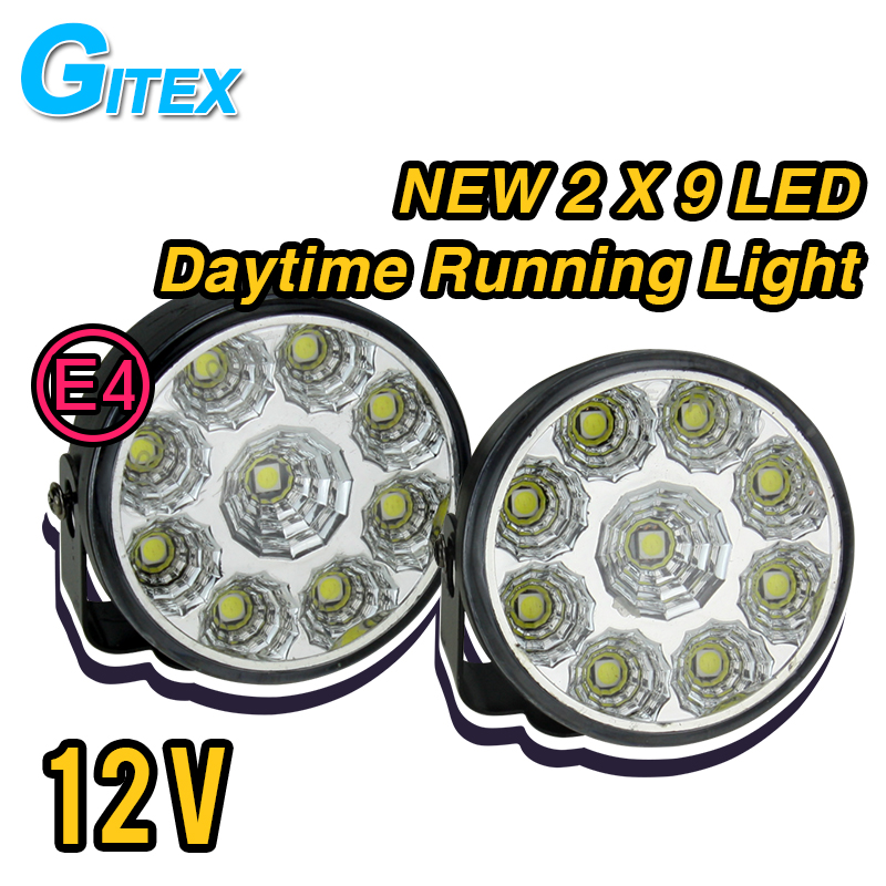 2 X Super Bright White 9 LED Head Front Round  Fog Light  for all Car DRL Off-road Lamp Daytime Running Lights Parking Lamp auto lamp parking car light source drl 1xhb5 9007 30w led white fog head lights daytime running lamp hb5 super bright