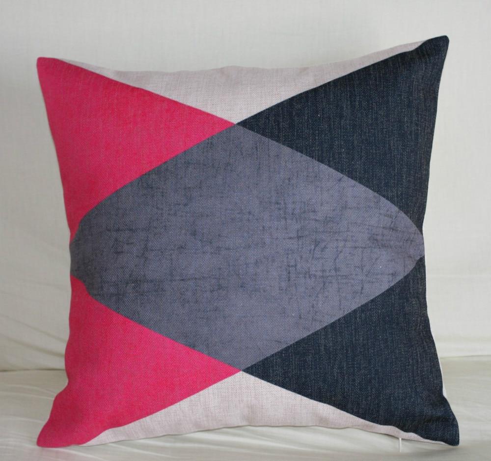 Vintage Cotton Linen Cushion Cover Pillow Case Home Decor Geometric Triangle Hot Pink Black Grey