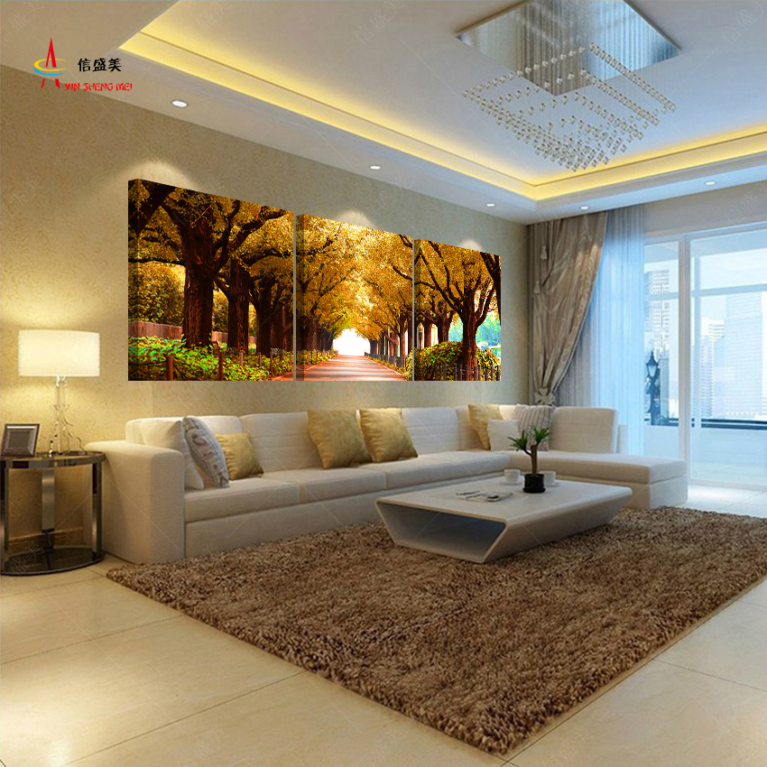 3pcs tree pictures home decoration wall paintings for for Wall art paintings for living room