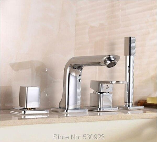 新ソリッドブラス 4 個浴室の浴槽の蛇口セットクローム仕上げミキサータップシャワータップ W/真鍮ハンドシャワースプレーデッキマウント  グループ上の 家のリフォーム からの シャワー 蛇口 の中 1
