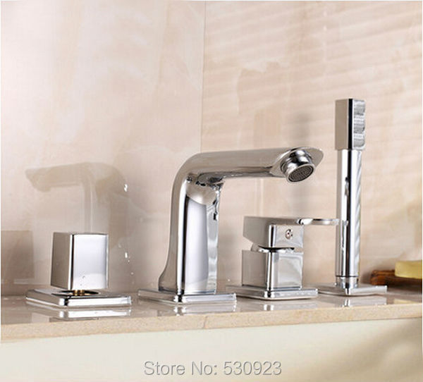 Newly Solid Brass 4Pcs Bathroom Tub Faucet Set Chrome Finish Mixer Tap Shower Tap W/ Brass Hand Shower Sprayer Deck Mounted polished chrome double cross handles wall mounted bathroom clawfoot bathtub tub faucet mixer tap w hand shower atf902
