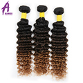 8A Mink Brazilian Curly Virgin Hair 3 Bundles Deep Curly Brazilian Hair Extensions Ombre Deep Wave Human Hair Weave 1b 4 27