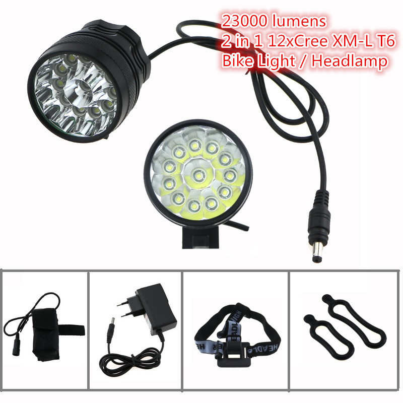 12T6 22000 lumens Bike Flashlight Headlight 12xCree XML T6 Led Helmet Bicycle Cycling Head Lamp+ 18650 Battery Pack + Charger hot sale 3x cree xml t6 led headlamp bike light 5000 lumen 18650 led head light 4x18650 battery pack charger bike rear light