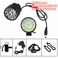 12T6 22000 lumens Bike Flashlight Headlight 12xCree XML T6 Led Helmet Bicycle Cycling Head Lamp+ 18650 Battery Pack + Charger