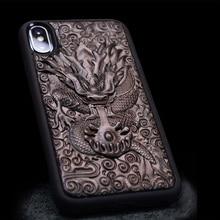 Роскошный 3D стерео чехол из эбенового дерева с резьбой для iPhone XS ТПУ Полностью Защитный чехол для задней панели телефона Чехлы для iPhone X XR XS Max