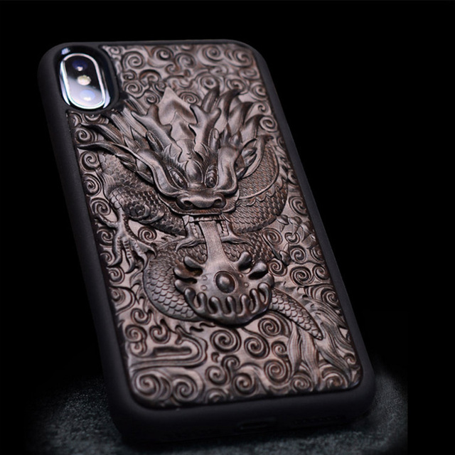 new products 51aa2 325cd US $26.99 10% OFF|Luxury Carved Ebony Wood 3D Stereo Case for iPhone XS TPU  Full Protective Back Cover Phone Bag Cases For iPhone X XR XS Max-in ...
