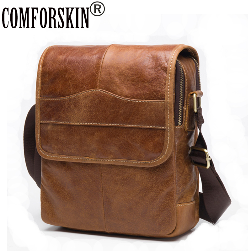 COMFORSKIN Retro Men Messenger Bags 2018 New Arrivals Premium Cow Leather European American Brand Vintage Men Cross-body Bags yoursfs heart necklace for mother s day with round austria crystal gift 18k white gold plated