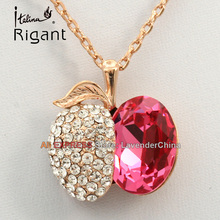 A1-P337 Italina Rigant Fashion Rhinestone Simulated Gemstone Necklace Pendant 18KGP Crystal Jewelry