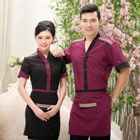 2017 Summer Hotel Server Clothing Supermarket Workers Uniform Cheap Short Sleeve V Neck Purple Waitress Workwear