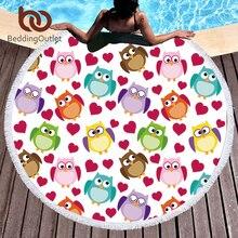 Постельные принадлежности, детское большое круглое пляжное полотенце из микрофибры с рисунком совы, банное полотенце с сердечком для девочек, коврик для йоги, цветной гобелен 150 см