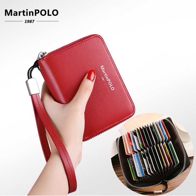 MartinPOLO Genuine Leather Wallet For Women Business Credit Card Holder RFID Card Protection ID Holder 30 Cards Purse MP4001