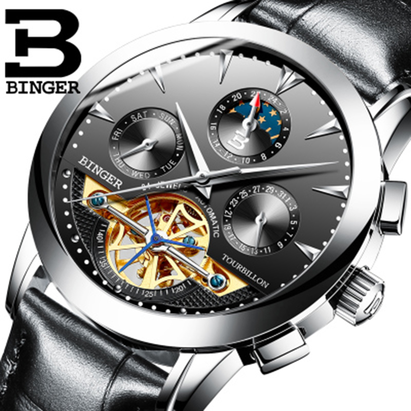 Genuine Luxury BINGER Brand Men Self-wind waterproof leather strap automatic mechanical male black dial fashion Tourbillon watch forsining latest design men s tourbillon automatic self wind black genuine leather strap classic wristwatch fs057m3g4 gift box