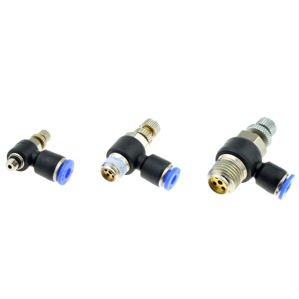 Válvula de control de velocidad de flujo neumática 4 mm pulgadas Empuje Montaje para Tubo de la manguera de aire