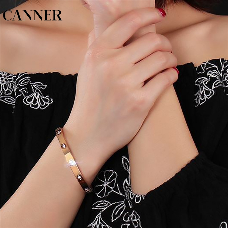 CANNER Shining Crystal Bangles for Women Luxury Womens Bangle Fashion Silver Bracelets Wedding Jewelry R4