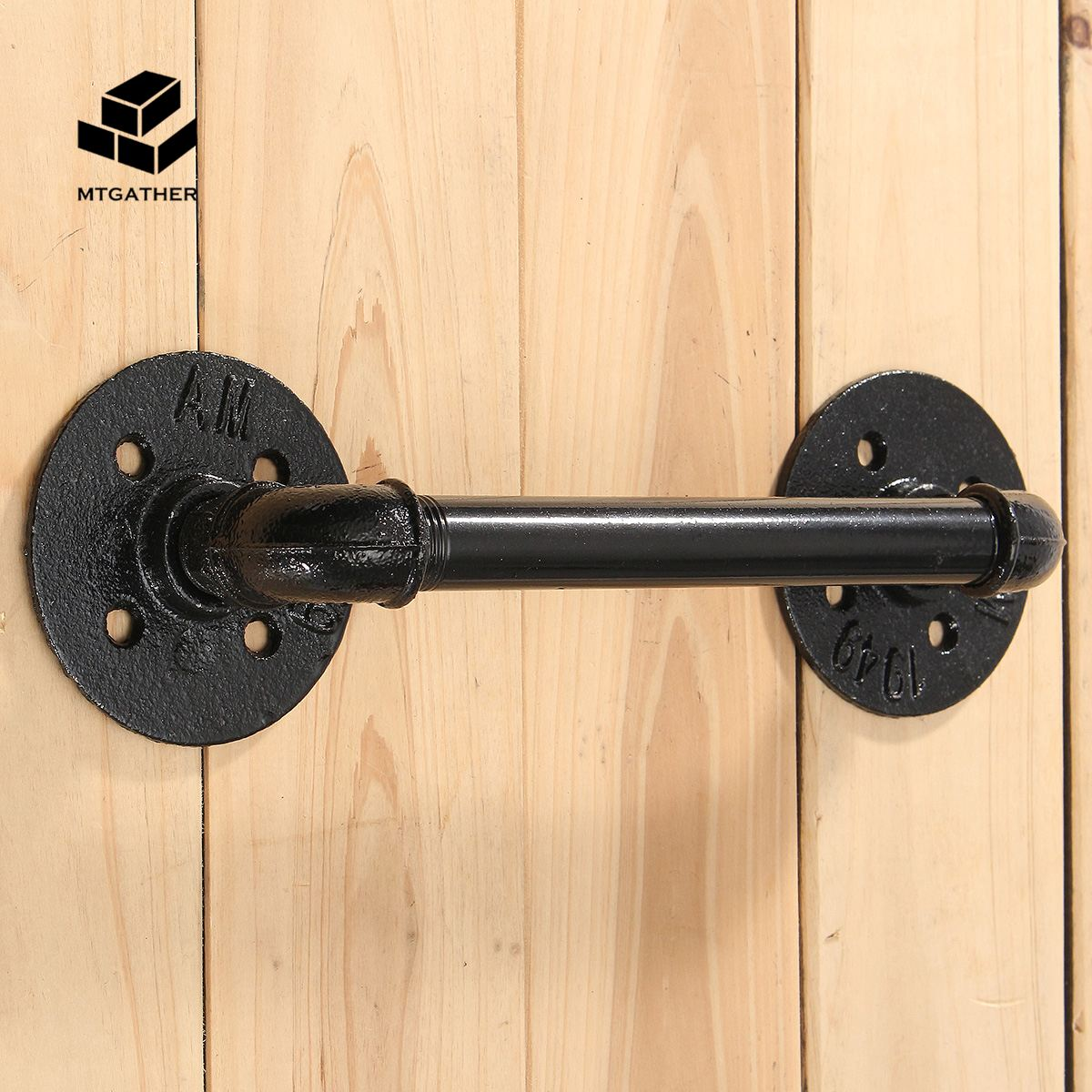 MTGATHER Antique Rustic Style Cast Iron Black Pipe Door Handle Gate Pull With Screws for Home Door Hardware цена 2017