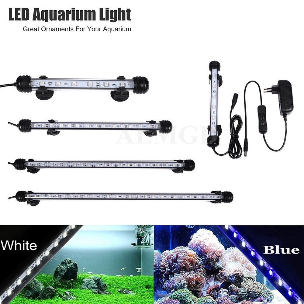 EU US PLUG Aquarium LED Light Fish Tank White Blue Waterproof IP68 5050 SMD LED Bar Light Lamp Submersible 18CM 28CM 38CM 48CM new arrival led aquarium fish tank light bar 58cm 30 led smd 505 rgb led light submersible lamp ip68 waterproof with ir remote