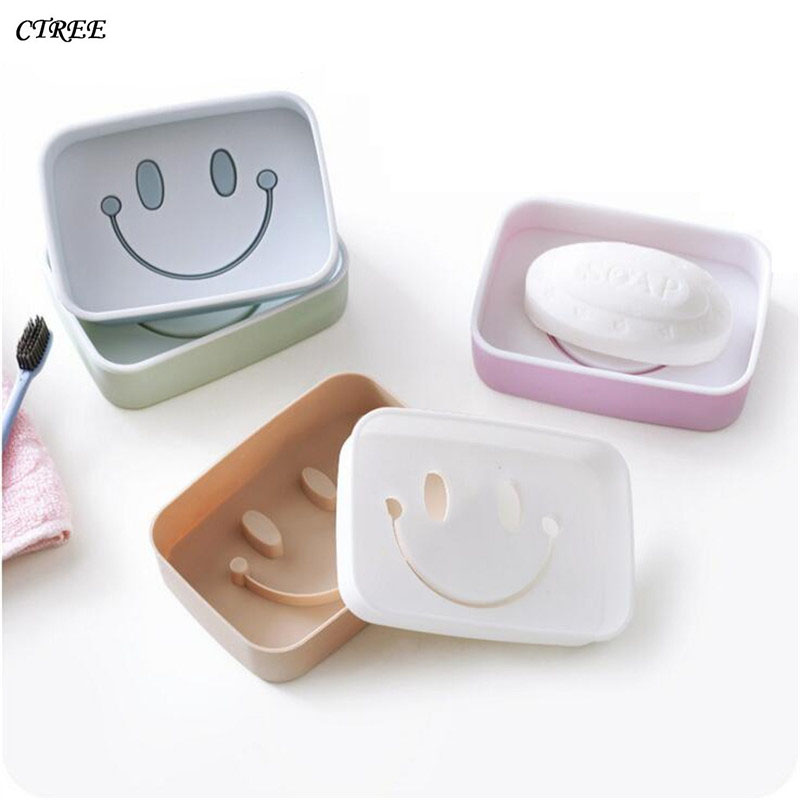 CTREE Hot Portable Soap Case Dishes Smiley Cartoon Rabbit Double layer Drain Non-slip Home Bathroom Accessories Soap Dishes C32
