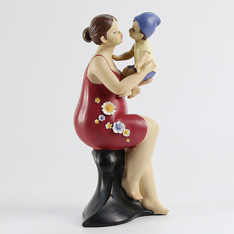 Mère américaine aime la famille chaude décoration série de personnages de résine artisanat décoratif ameublement cadeau de fête des mères - 3