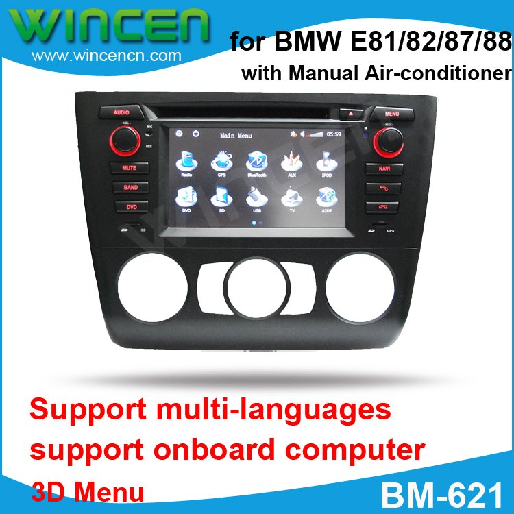 6.2 Car DVD GPS Player for BMW E81/82/87/88 with 3D Menu multi languages High Quality Free Shipping+Free Card with Map!!!