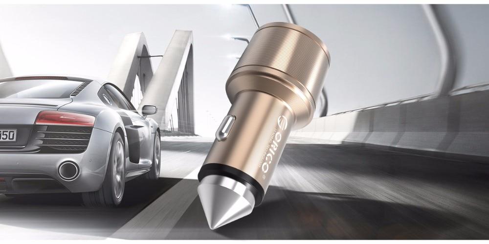 ORICO UCI-2U אלומיניום USB מטען לרכב כמו בטיחות פטיש 2 יציאות 5V2.4 מקס פלט 15.5 W נייד Mini USB מטען נסיעות