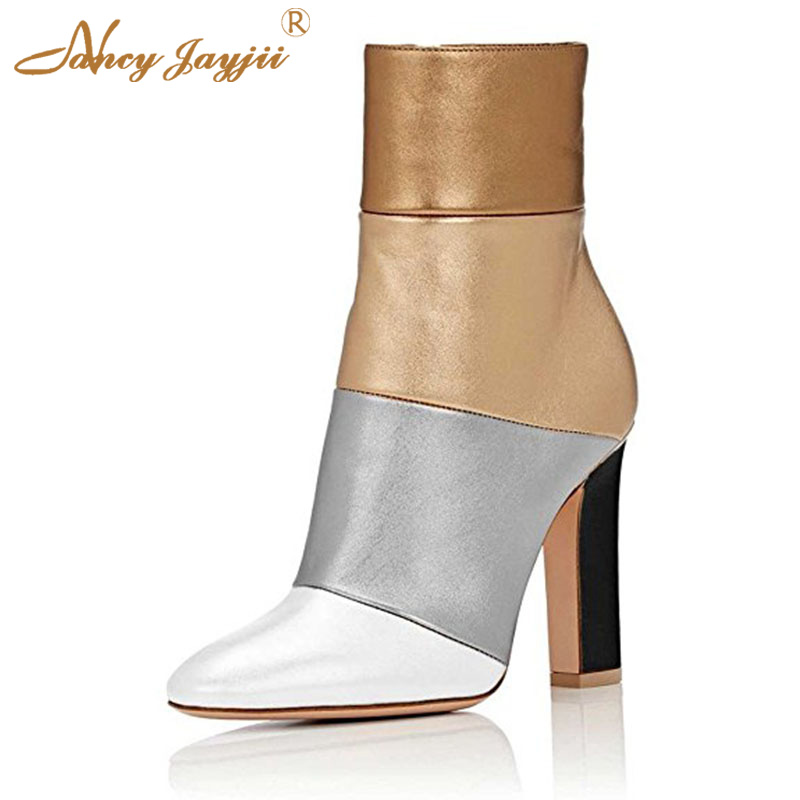 все цены на Retro Silver Supperstar Womens Leather High Square Heel Handmade Mid-Calf Boots Side Zipper Autumn Casual Shoes Zapato Mujeres