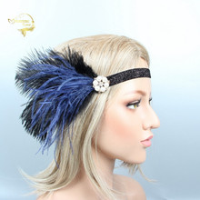 Black and Blue Feather Women Headband with Pearl Rhinestone Shining Bridal Headwear for Woman Wedding Special Occasion JWH002