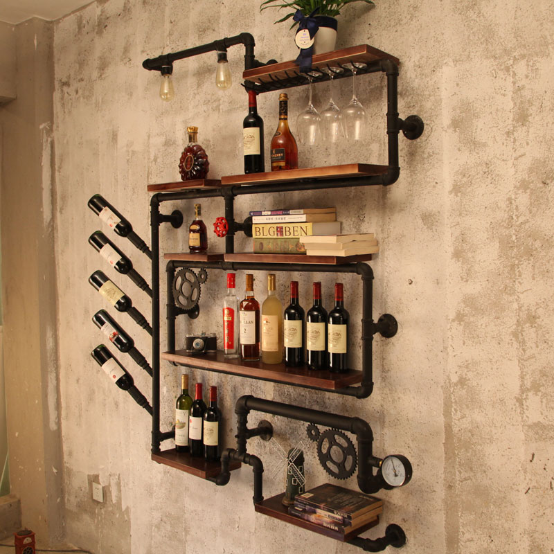Us 103 44 15 Off Artistic Wine Rack Set Wall Mounted Shelves For Glware Creative Bottle Organizer Storage Display House Decoration In