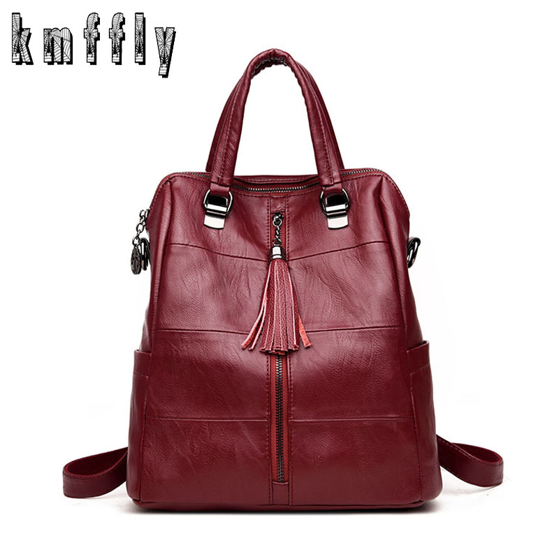 Backpack Mochilas School-Bags Fashion Women Tassel with for Girls Mujer Female