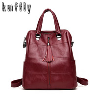 Fashion leather backpack with Tassel women school bags for girls mochilas mujer 2018 Female School Shoulder Bag Bagpack mochila