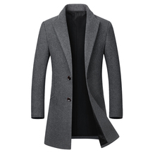 2019 New Mens Trench Coat Autumn Winter Wool Jackets Men Fashion Woolen Casual Slim Fit Long Coats Overcoat