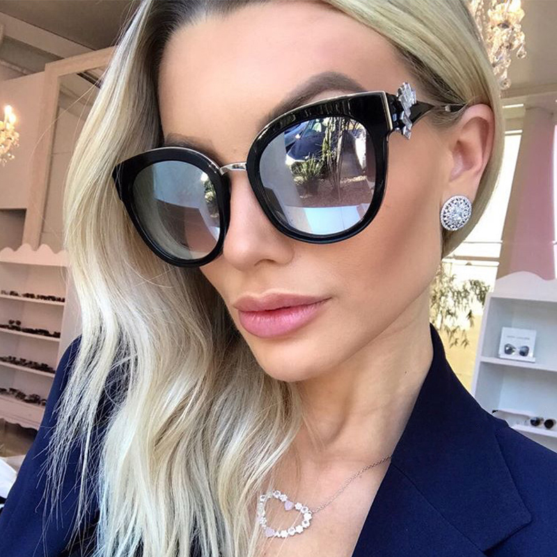 Winla Fashion Design Women Sunglasses Cat Eye Sun Glasses Gradient Lens Crystal Printed Legs Vintage Shades Oculos de sol WL1135 ...