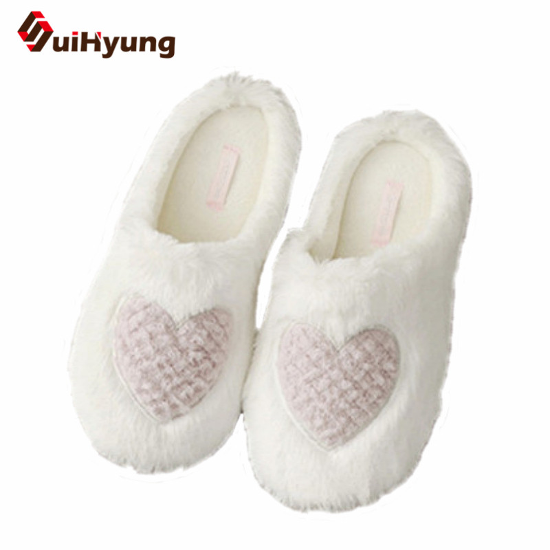 Suihyung Spring Women Home Slippers Indoor Shoes Lovely Heart Pattern Faux Fur Warm Flip Flops Female Bedroom Non-slip Slippers экшн камера eken h9 ultra hd yellow