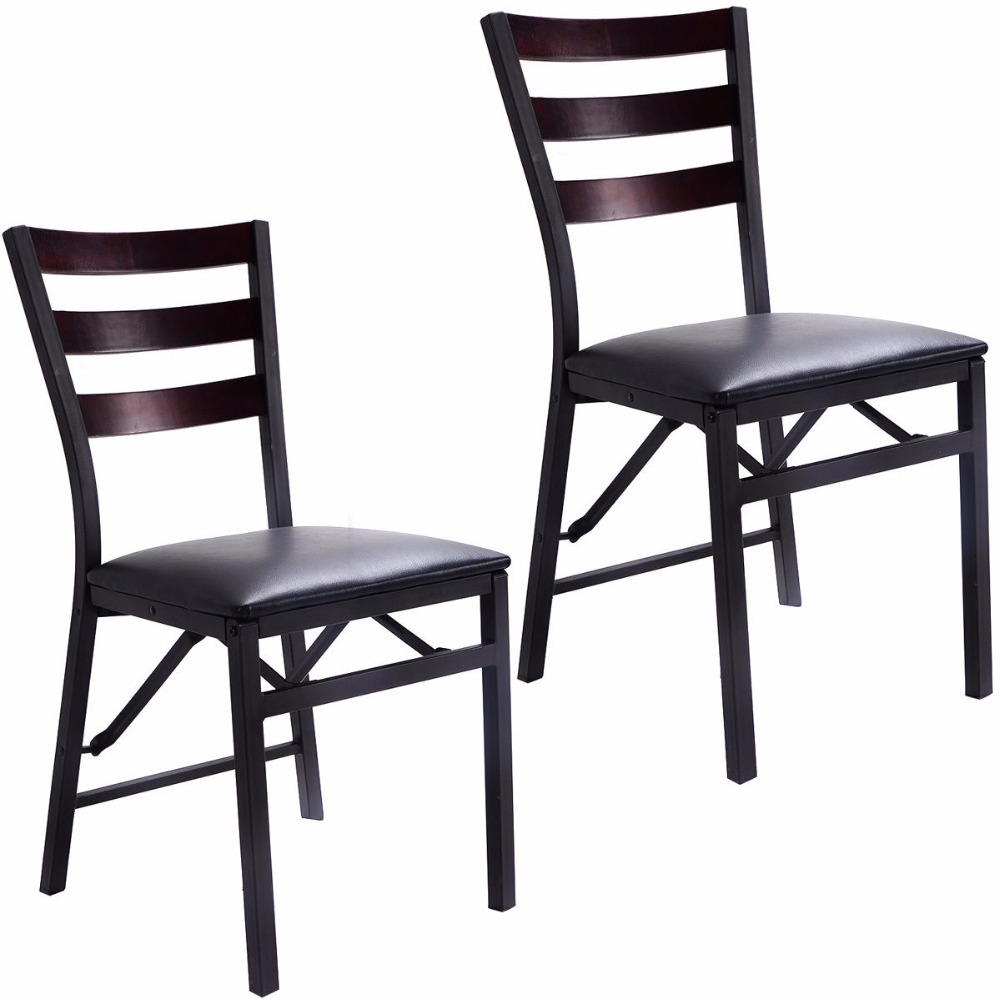 Goplus set of 2 folding chair dining chairs home for Modern dining chairs philippines
