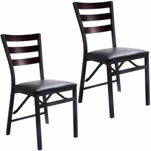 (Ship From US) Goplus Set Of 2 Folding Chair Dining Chairs Home Restaurant  Furniture Portable New Modern Living Room Wood Chairs HW52160