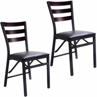 Goplus Set of 2 Folding Chair Dining Chairs Home Restaurant Furniture Portable New Modern Living Room Wood Chairs HW52160