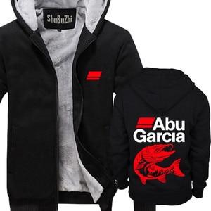 Image 2 - new arrived ABU GARCIA shubuzhi men winter padded zipper sweatshirt fashion casual hoodies thick fleece jacket coat hoody