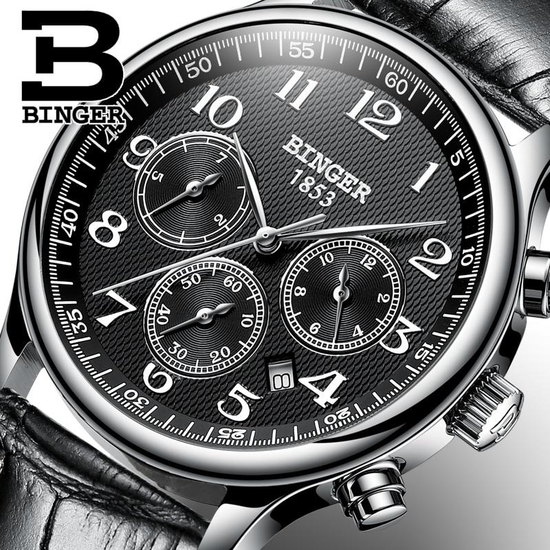 2017 Men s BINGER Brand Luxury Automatic Watch men Fashion Casual Dive 30M Date Clcok Business