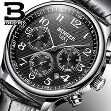 2017 hommes de binger marque de luxe automatique montre hommes mode casual plongée 30 m date clcok d'affaires montres reloj hombre