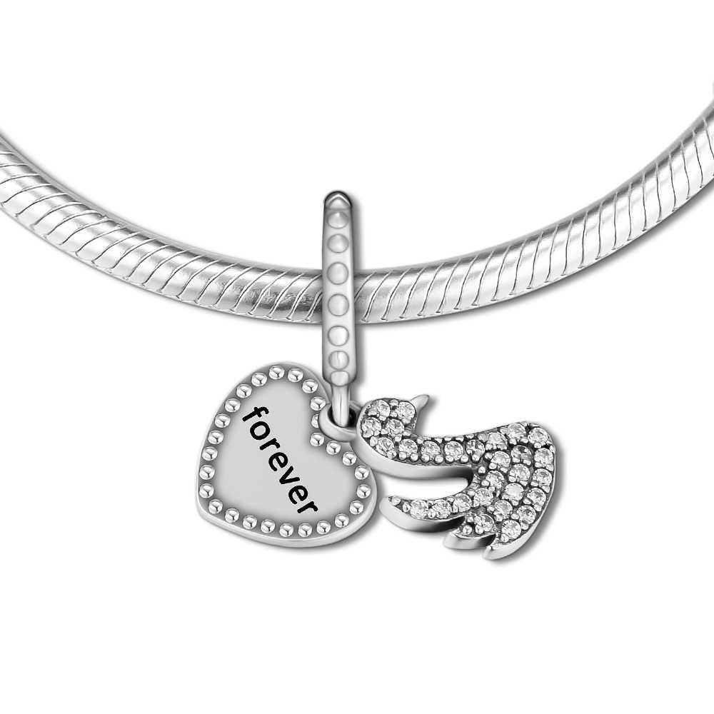 DIY Подходит для Pandora Charms браслеты Любовь и Лебедь из бусин с четким CZ 100% 925 пробы-серебро-ювелирные изделия Бесплатная доставка
